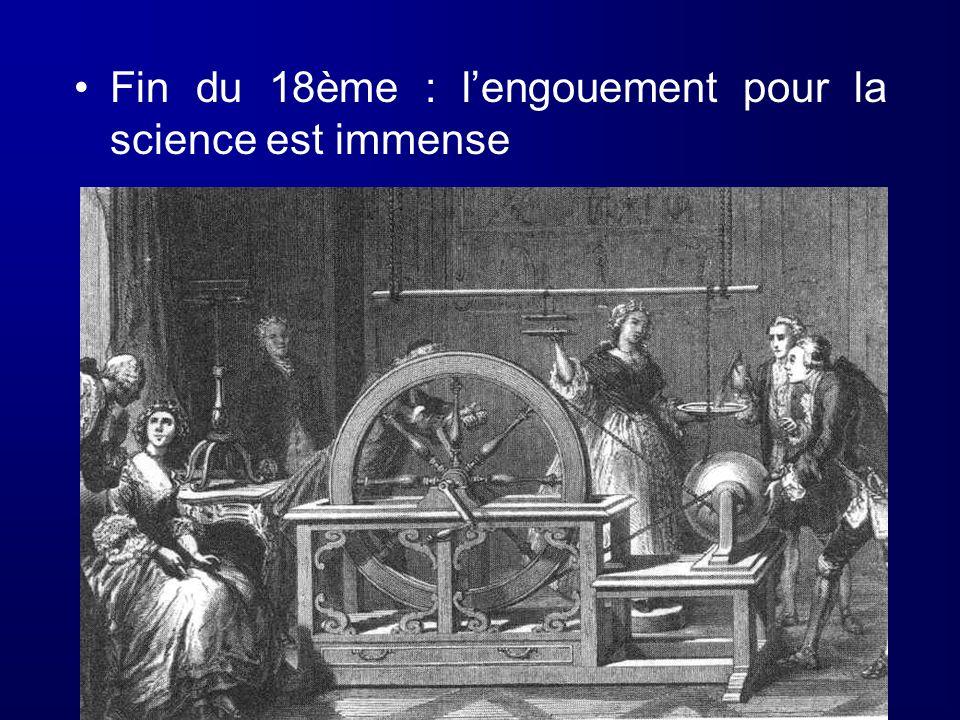 Fin du 18ème : lengouement pour la science est immense