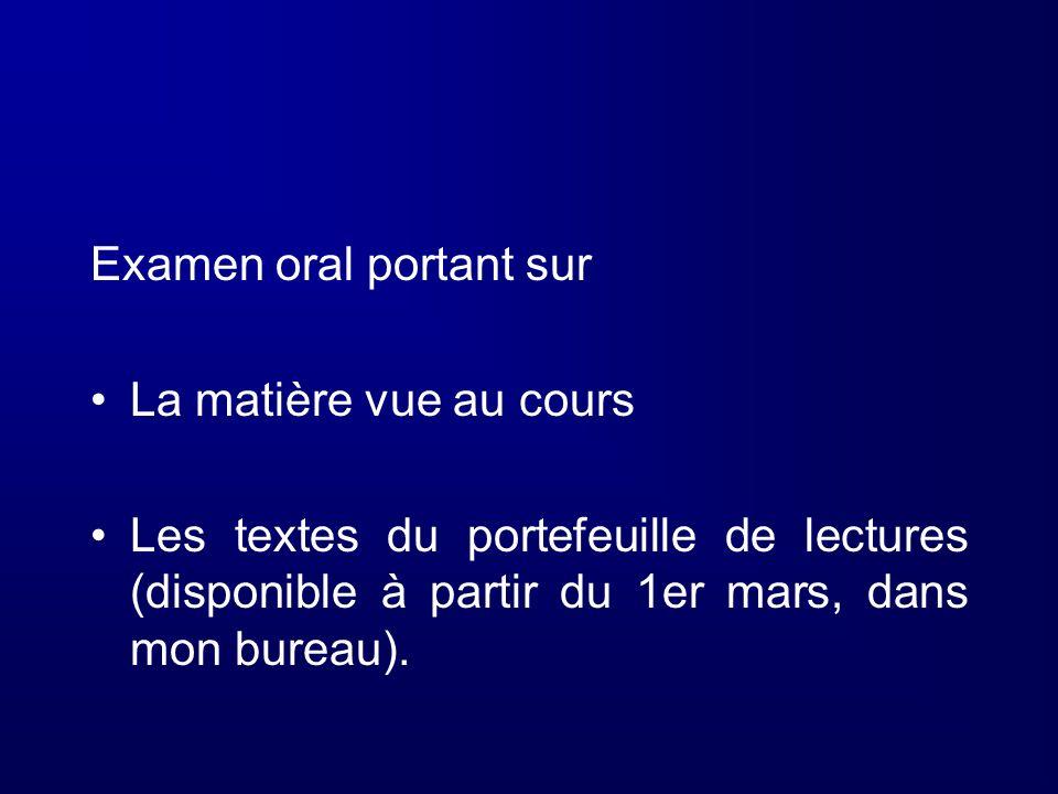 Examen oral portant sur La matière vue au cours Les textes du portefeuille de lectures (disponible à partir du 1er mars, dans mon bureau).