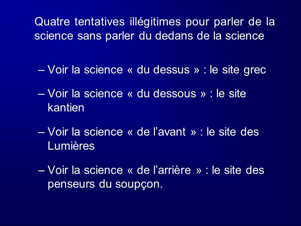 Quatre tentatives illégitimes pour parler de la science sans parler du dedans de la science –Voir la science « du dessus » : le site grec –Voir la sci