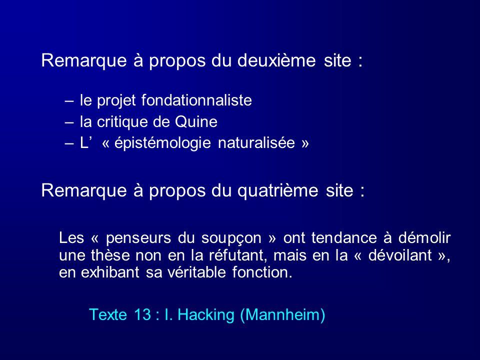Remarque à propos du deuxième site : –le projet fondationnaliste –la critique de Quine –L « épistémologie naturalisée » Remarque à propos du quatrième