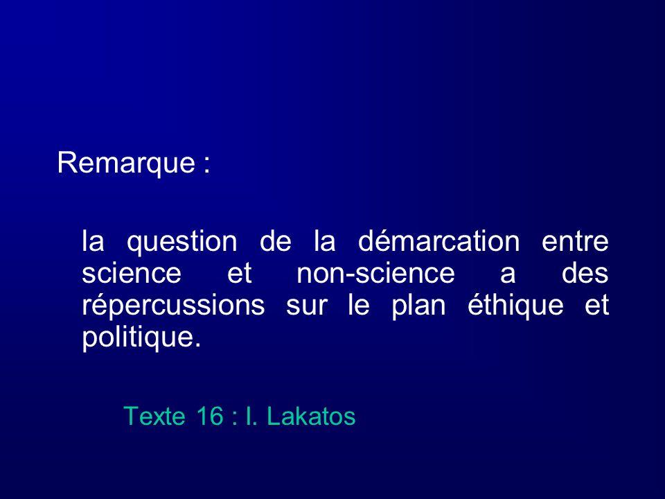 Remarque : la question de la démarcation entre science et non-science a des répercussions sur le plan éthique et politique. Texte 16 : I. Lakatos