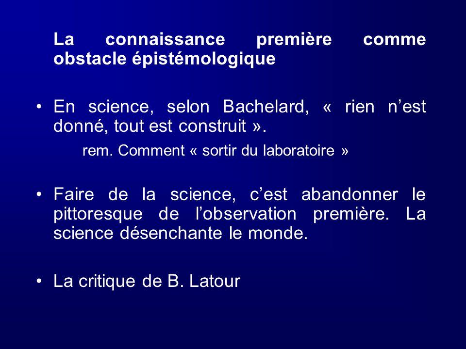 La connaissance première comme obstacle épistémologique En science, selon Bachelard, « rien nest donné, tout est construit ». rem. Comment « sortir du