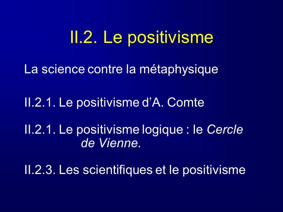 II.2. Le positivisme La science contre la métaphysique II.2.1. Le positivisme dA. Comte II.2.1. Le positivisme logique : le Cercle de Vienne. II.2.3.