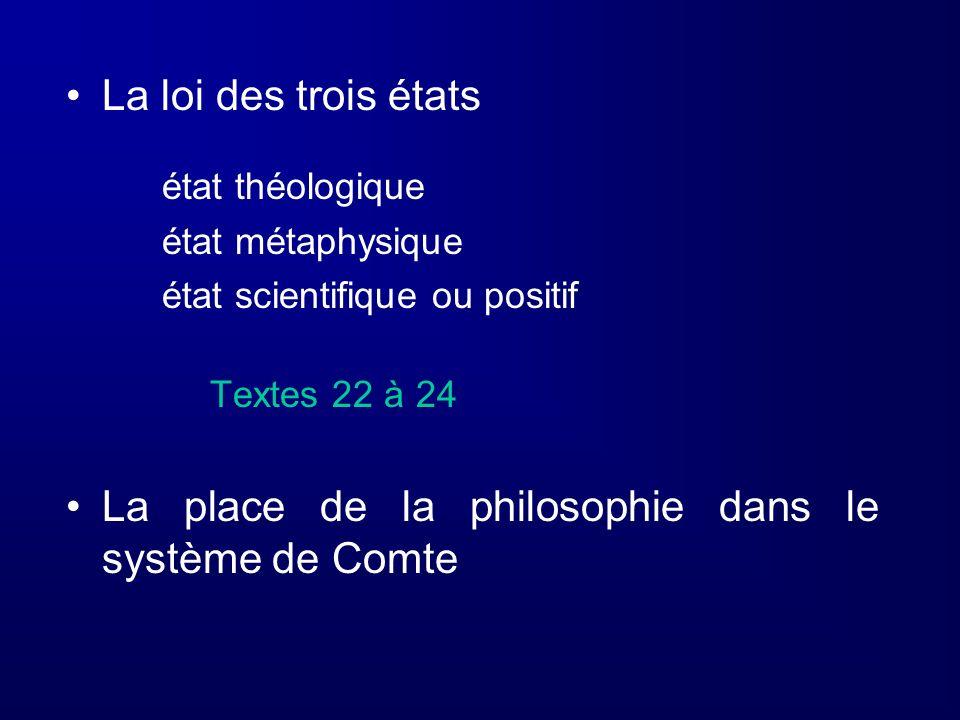La loi des trois états état théologique état métaphysique état scientifique ou positif Textes 22 à 24 La place de la philosophie dans le système de Co