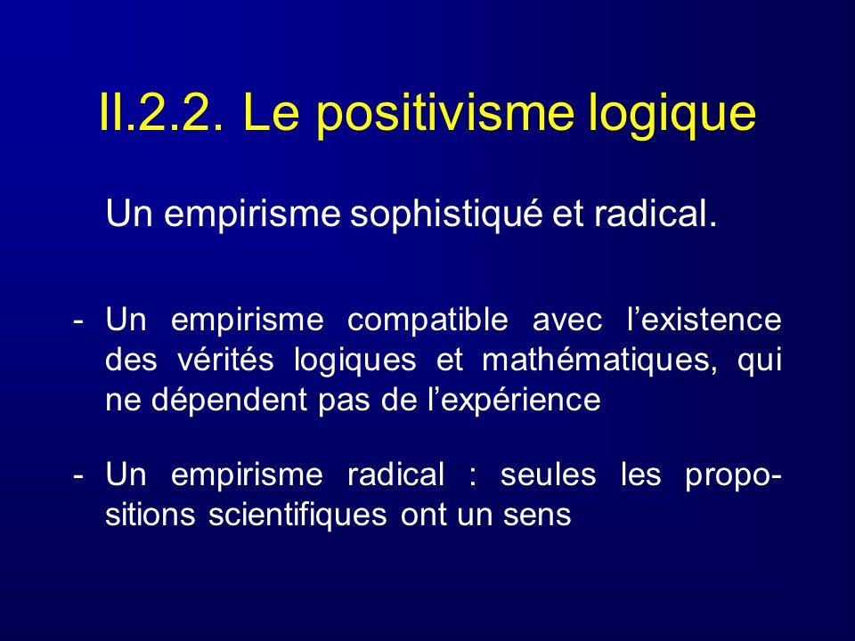 II.2.2. Le positivisme logique Un empirisme sophistiqué et radical. -Un empirisme compatible avec lexistence des vérités logiques et mathématiques, qu