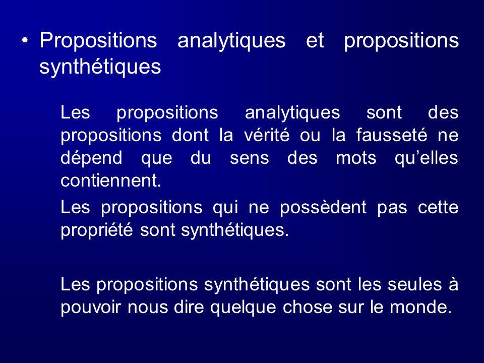 Propositions analytiques et propositions synthétiques Les propositions analytiques sont des propositions dont la vérité ou la fausseté ne dépend que d