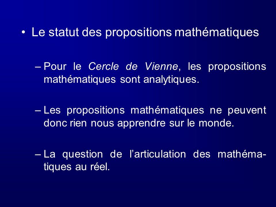 Le statut des propositions mathématiques –Pour le Cercle de Vienne, les propositions mathématiques sont analytiques. –Les propositions mathématiques n