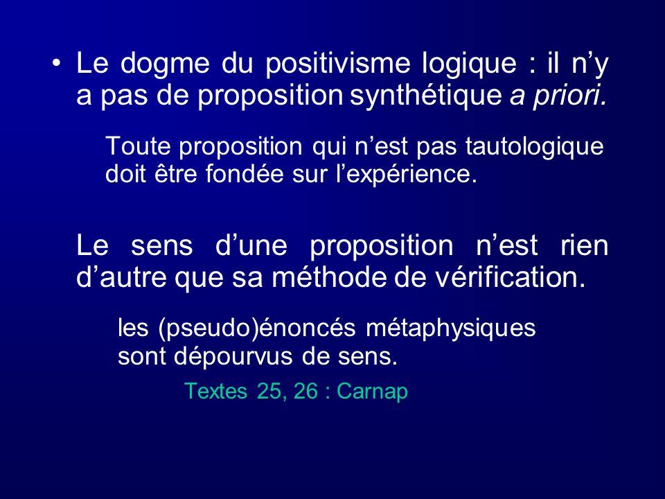 Le dogme du positivisme logique : il ny a pas de proposition synthétique a priori. Toute proposition qui nest pas tautologique doit être fondée sur le