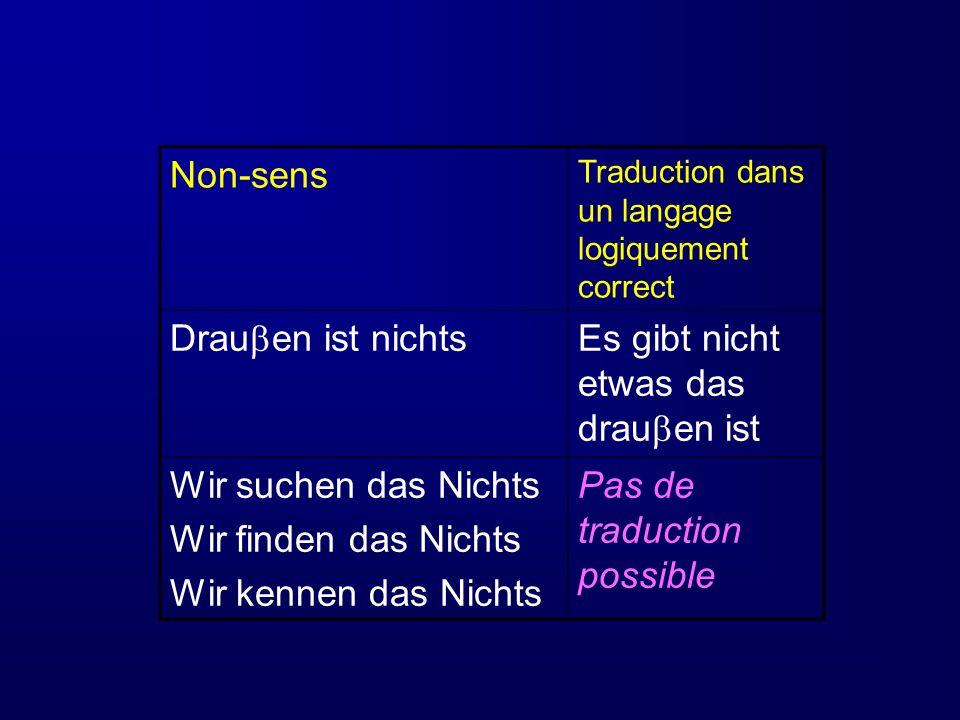 Non-sens Traduction dans un langage logiquement correct Drau en ist nichts Es gibt nicht etwas das drau en ist Wir suchen das Nichts Wir finden das Ni