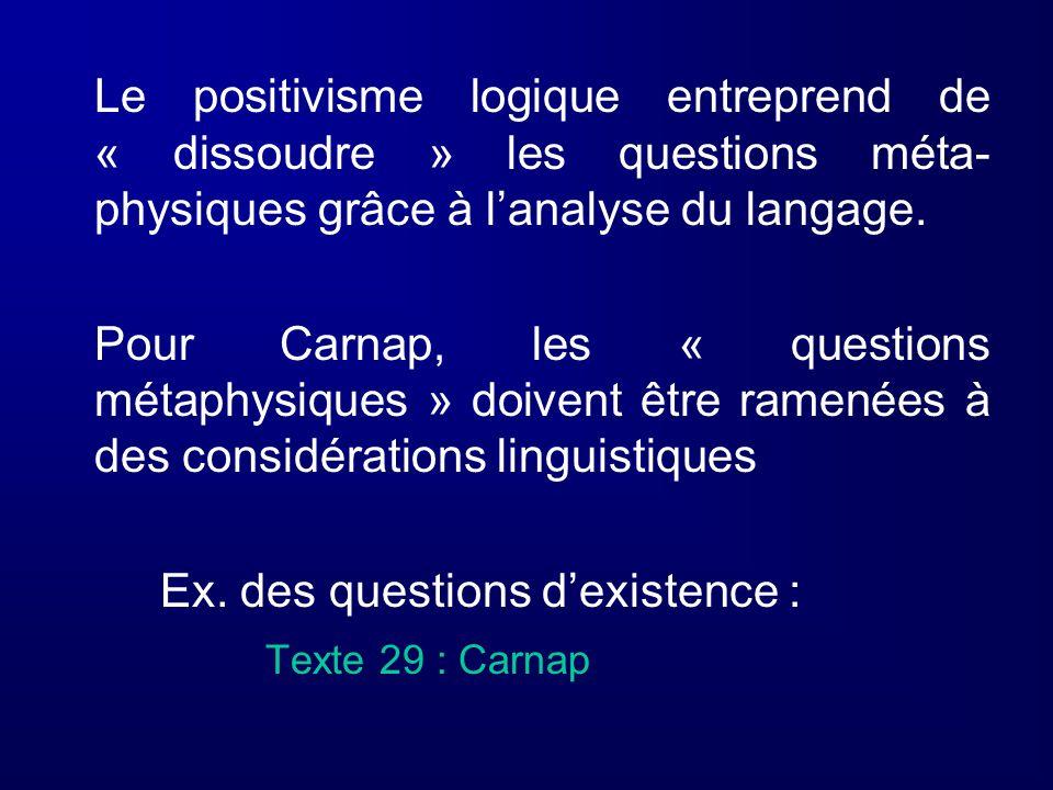 Le positivisme logique entreprend de « dissoudre » les questions méta- physiques grâce à lanalyse du langage. Pour Carnap, les « questions métaphysiqu