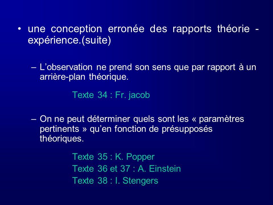 une conception erronée des rapports théorie - expérience.(suite) –Lobservation ne prend son sens que par rapport à un arrière-plan théorique. Texte 34