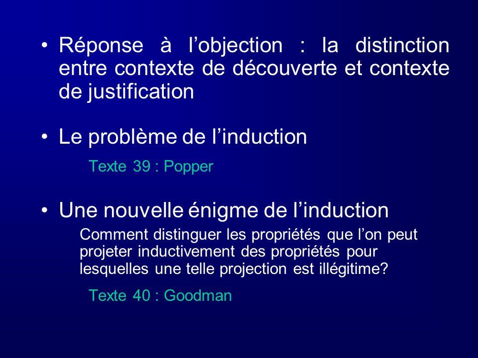 Réponse à lobjection : la distinction entre contexte de découverte et contexte de justification Le problème de linduction Texte 39 : Popper Une nouvel