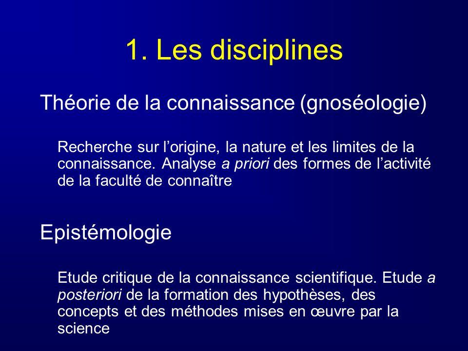 1. Les disciplines Théorie de la connaissance (gnoséologie) Recherche sur lorigine, la nature et les limites de la connaissance. Analyse a priori des