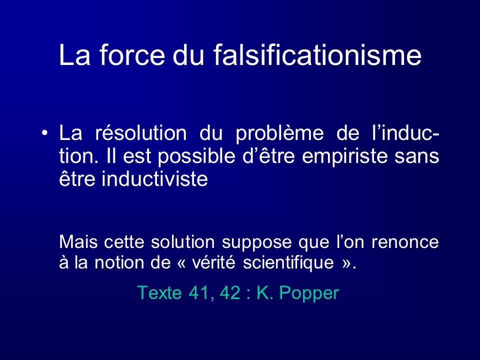La force du falsificationisme La résolution du problème de linduc- tion. Il est possible dêtre empiriste sans être inductiviste Mais cette solution su