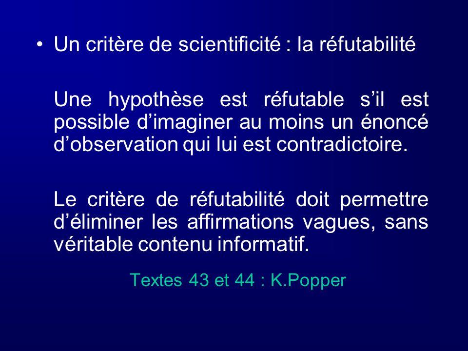 Un critère de scientificité : la réfutabilité Une hypothèse est réfutable sil est possible dimaginer au moins un énoncé dobservation qui lui est contr