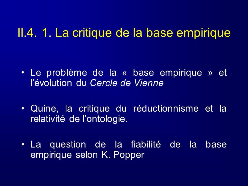 II.4. 1. La critique de la base empirique Le problème de la « base empirique » et lévolution du Cercle de Vienne Quine, la critique du réductionnisme