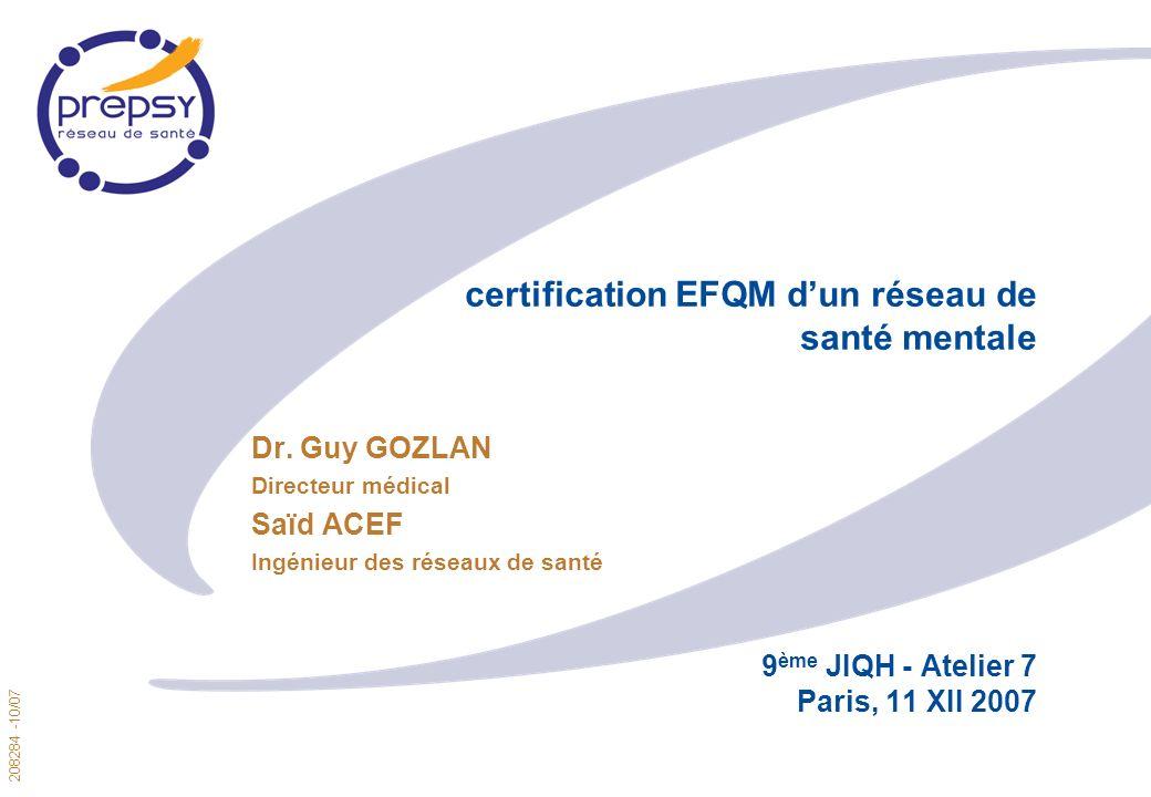 208284 -10/07 1 certification EFQM dun réseau de santé mentale 9 ème JIQH - Atelier 7 Paris, 11 XII 2007 Dr.