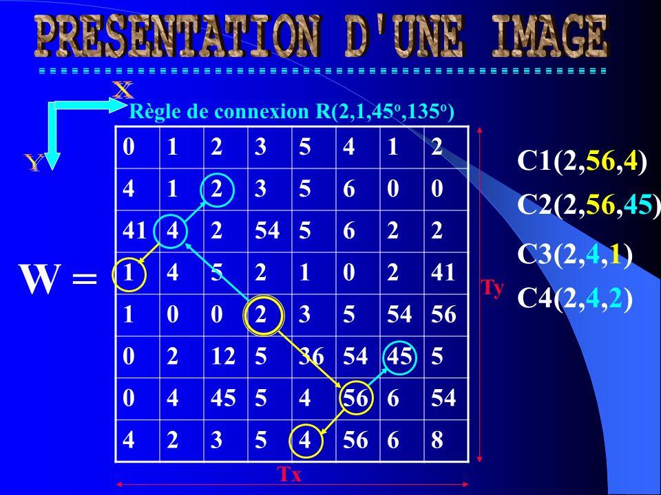 01235412 41235600 4142545622 145210241 1002355456 021253654455 04 5456654 423545668 W = Règle de connexion R(2,1,45 o,135 o ) C1(2,56,4) C2(2,56,45) C3(2,4,1) C4(2,4,2) Tx Ty