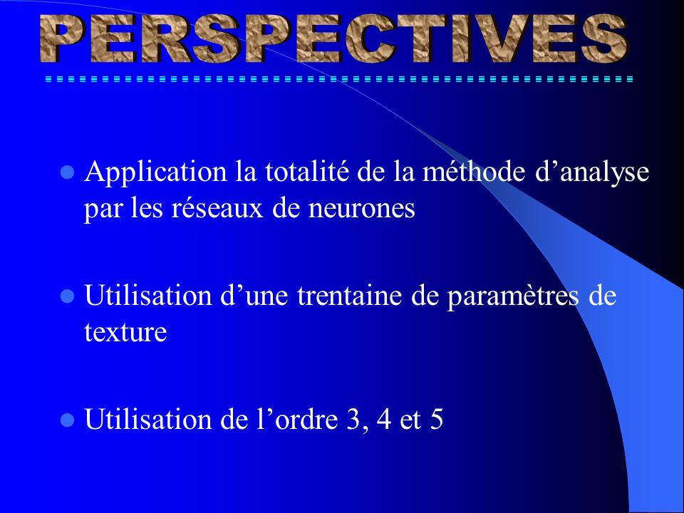 Application la totalité de la méthode danalyse par les réseaux de neurones Utilisation dune trentaine de paramètres de texture Utilisation de lordre 3, 4 et 5