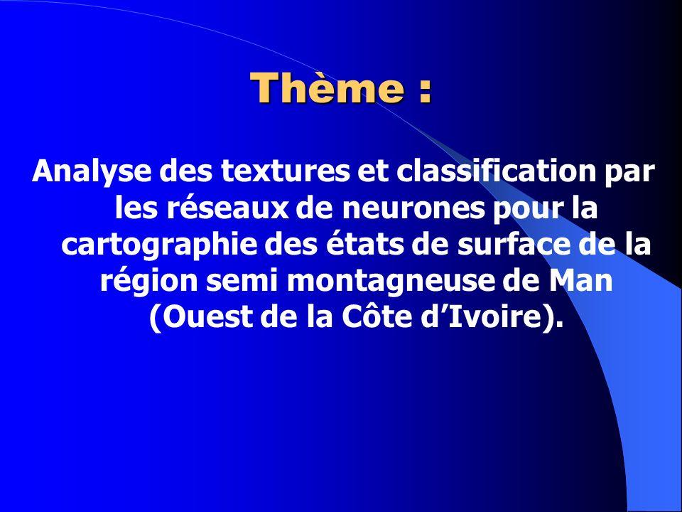 Thème : Analyse des textures et classification par les réseaux de neurones pour la cartographie des états de surface de la région semi montagneuse de Man (Ouest de la Côte dIvoire).