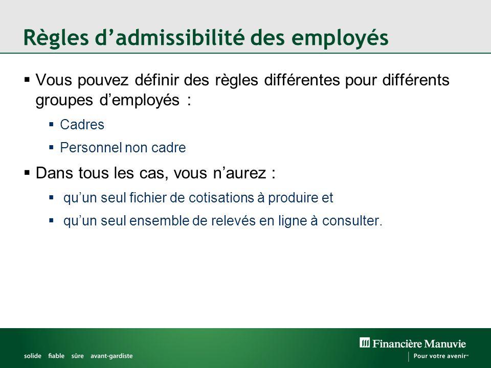 Vous pouvez définir des règles différentes pour différents groupes demployés : Cadres Personnel non cadre Dans tous les cas, vous naurez : quun seul f