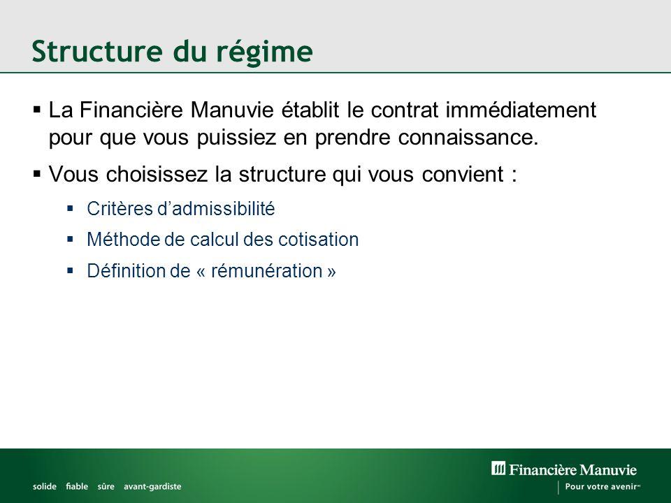 La Financière Manuvie établit le contrat immédiatement pour que vous puissiez en prendre connaissance. Vous choisissez la structure qui vous convient