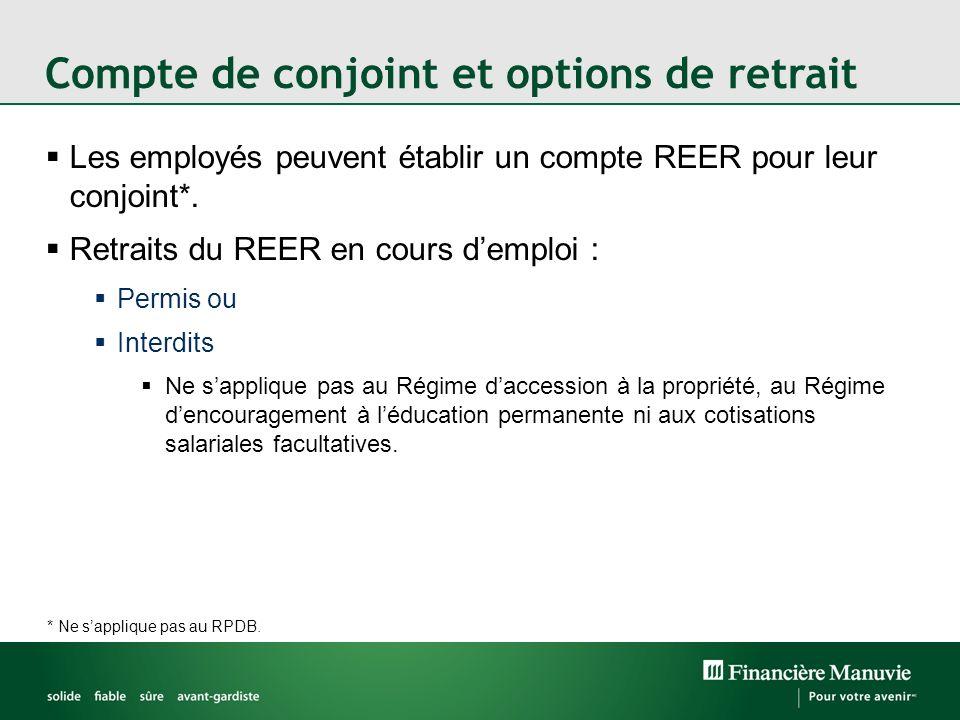 Les employés peuvent établir un compte REER pour leur conjoint*. Retraits du REER en cours demploi : Permis ou Interdits Ne sapplique pas au Régime da