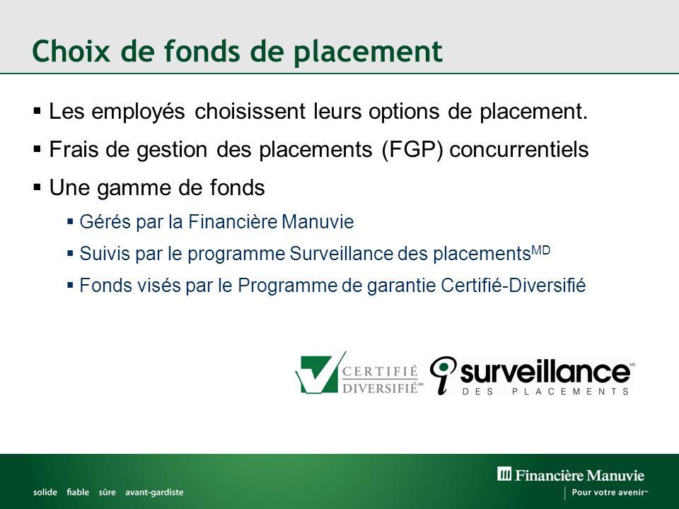 Choix de fonds de placement Les employés choisissent leurs options de placement. Frais de gestion des placements (FGP) concurrentiels Une gamme de fon