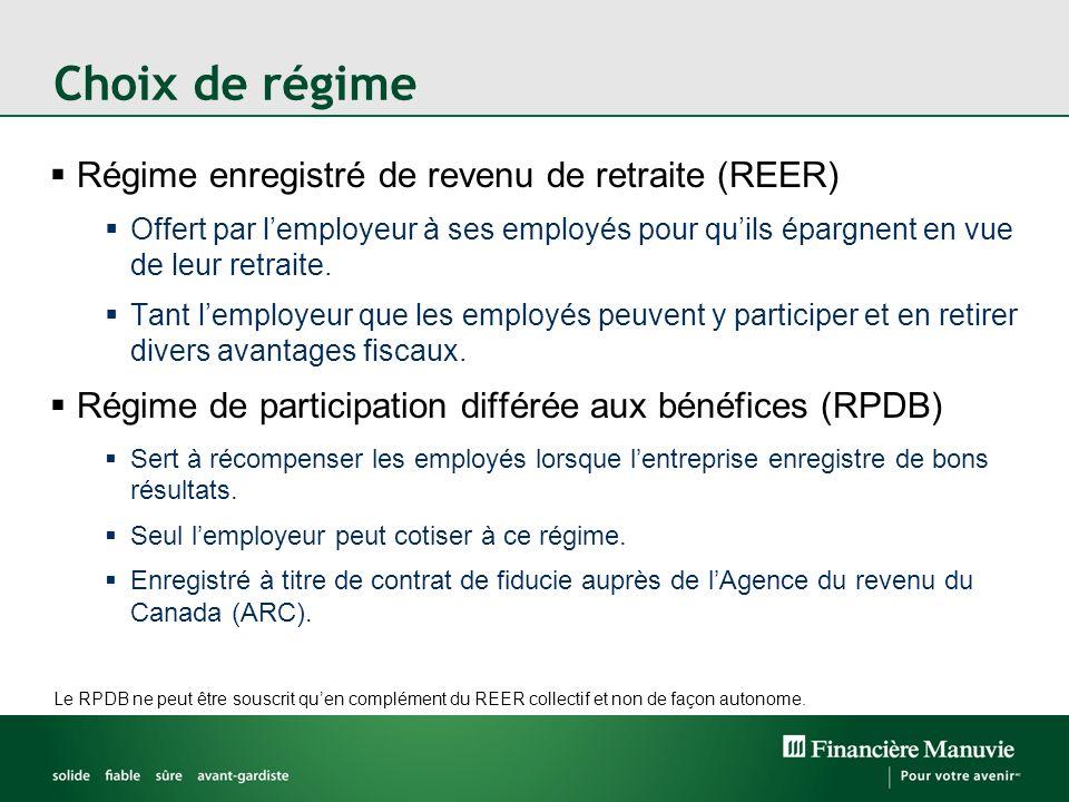 Choix de régime Régime enregistré de revenu de retraite (REER) Offert par lemployeur à ses employés pour quils épargnent en vue de leur retraite. Tant