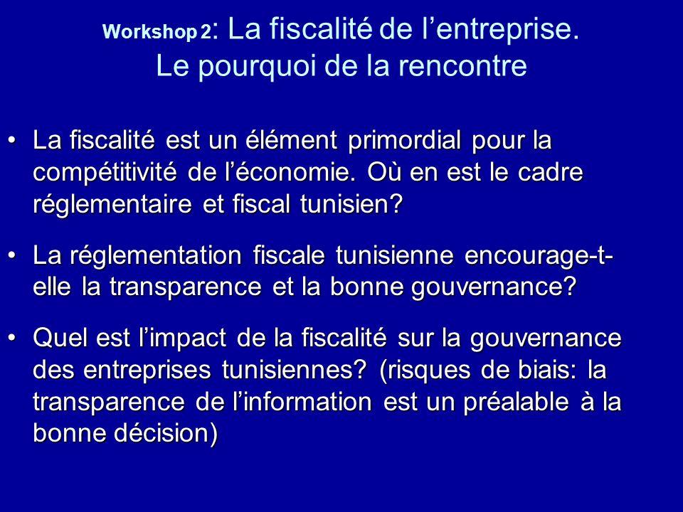 Workshop 2 : La fiscalité de lentreprise. Le pourquoi de la rencontre La fiscalité est un élément primordial pour la compétitivité de léconomie. Où en