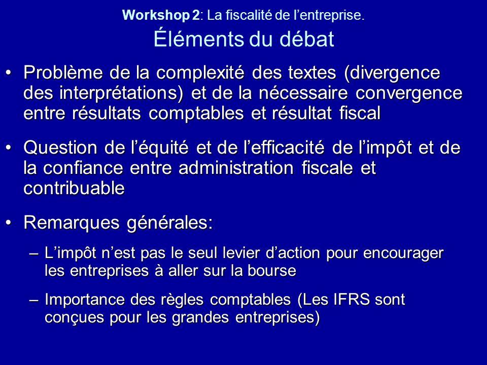 Workshop 2: La fiscalité de lentreprise. Éléments du débat Problème de la complexité des textes (divergence des interprétations) et de la nécessaire c