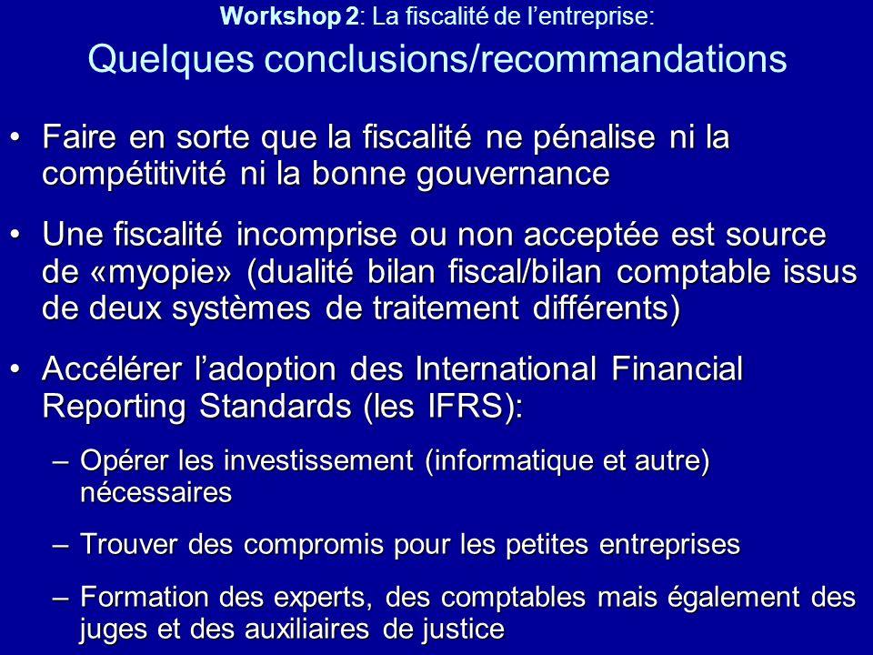 Workshop 2: La fiscalité de lentreprise: Quelques conclusions/recommandations Faire en sorte que la fiscalité ne pénalise ni la compétitivité ni la bo