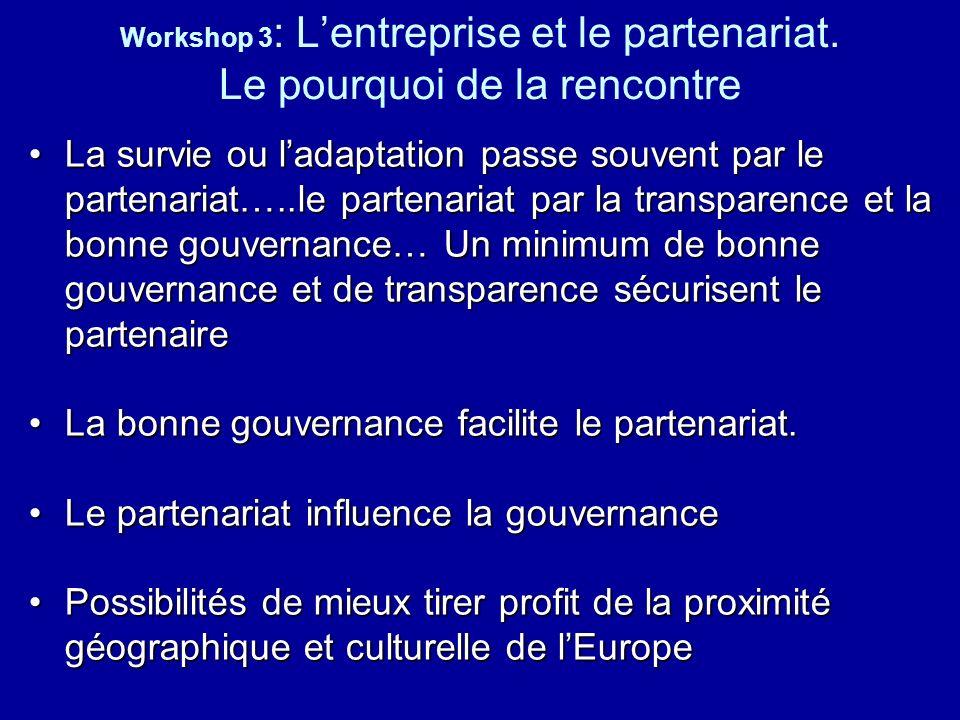 Workshop 3 : Lentreprise et le partenariat. Le pourquoi de la rencontre La survie ou ladaptation passe souvent par le partenariat…..le partenariat par