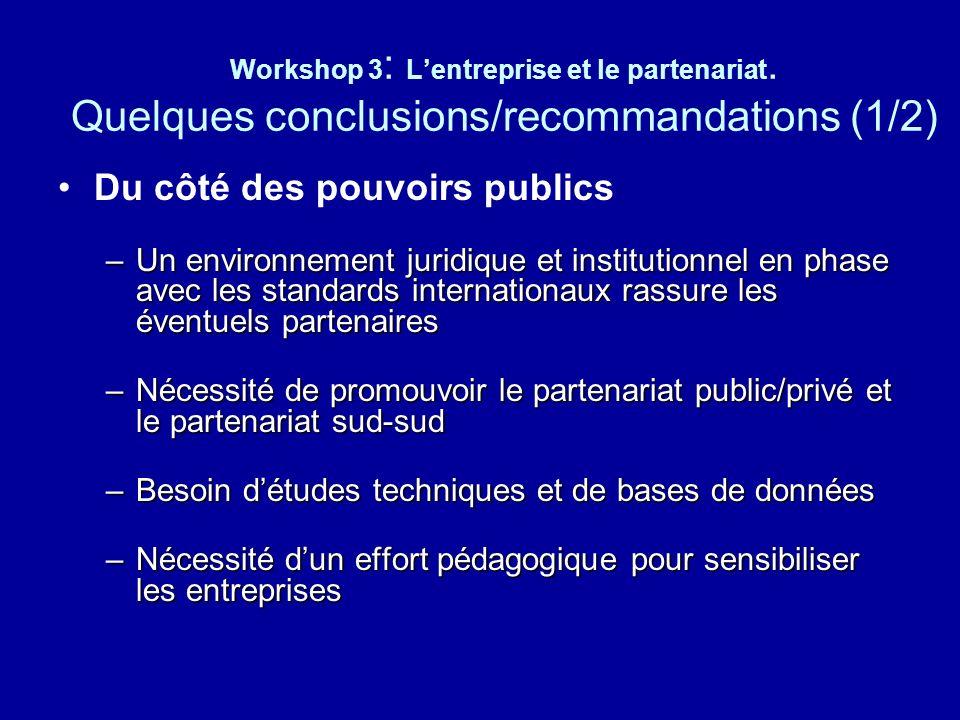 Workshop 3 : Lentreprise et le partenariat. Quelques conclusions/recommandations (1/2) Du côté des pouvoirs publics –Un environnement juridique et ins