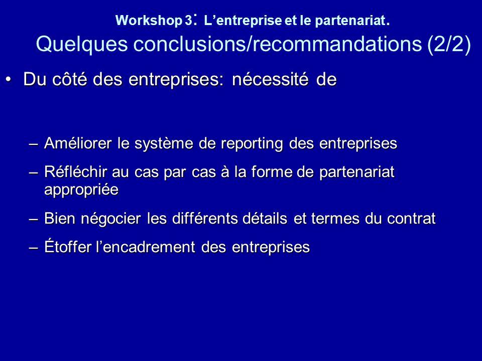 Workshop 3 : Lentreprise et le partenariat. Quelques conclusions/recommandations (2/2) Du côté des entreprises: nécessité deDu côté des entreprises: n