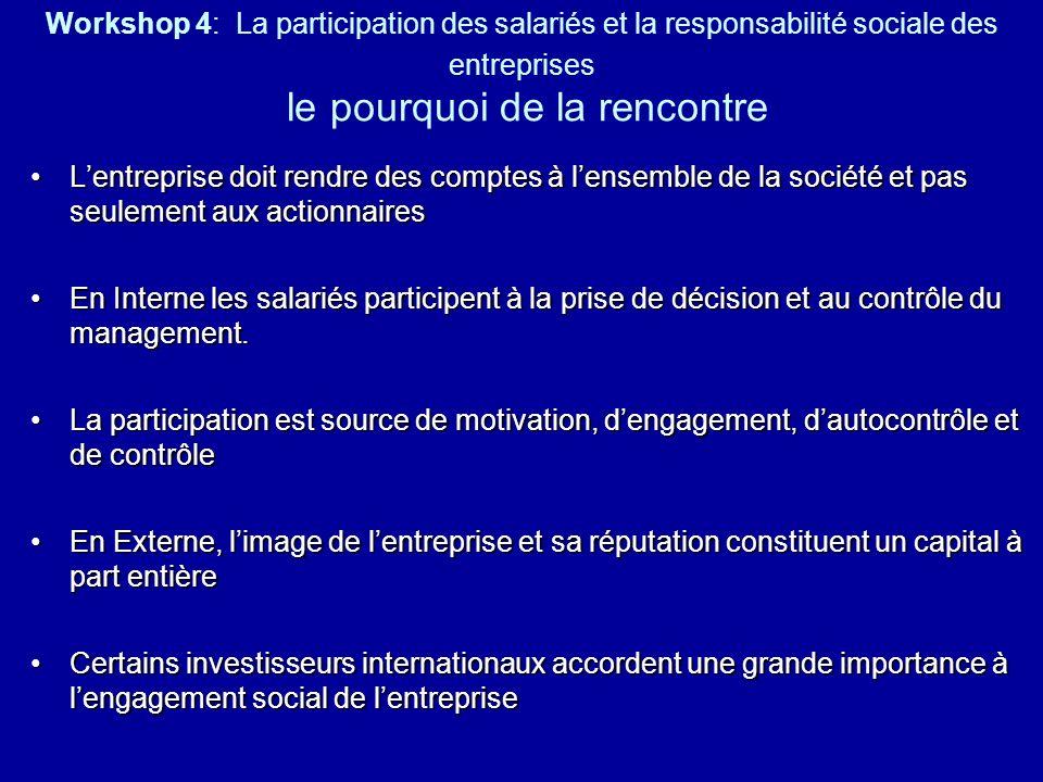Workshop 4: La participation des salariés et la responsabilité sociale des entreprises le pourquoi de la rencontre Lentreprise doit rendre des comptes