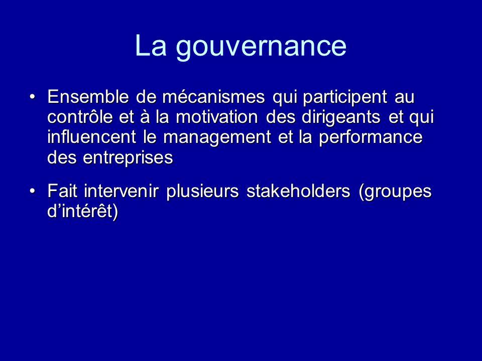 La gouvernance Ensemble de mécanismes qui participent au contrôle et à la motivation des dirigeants et qui influencent le management et la performance
