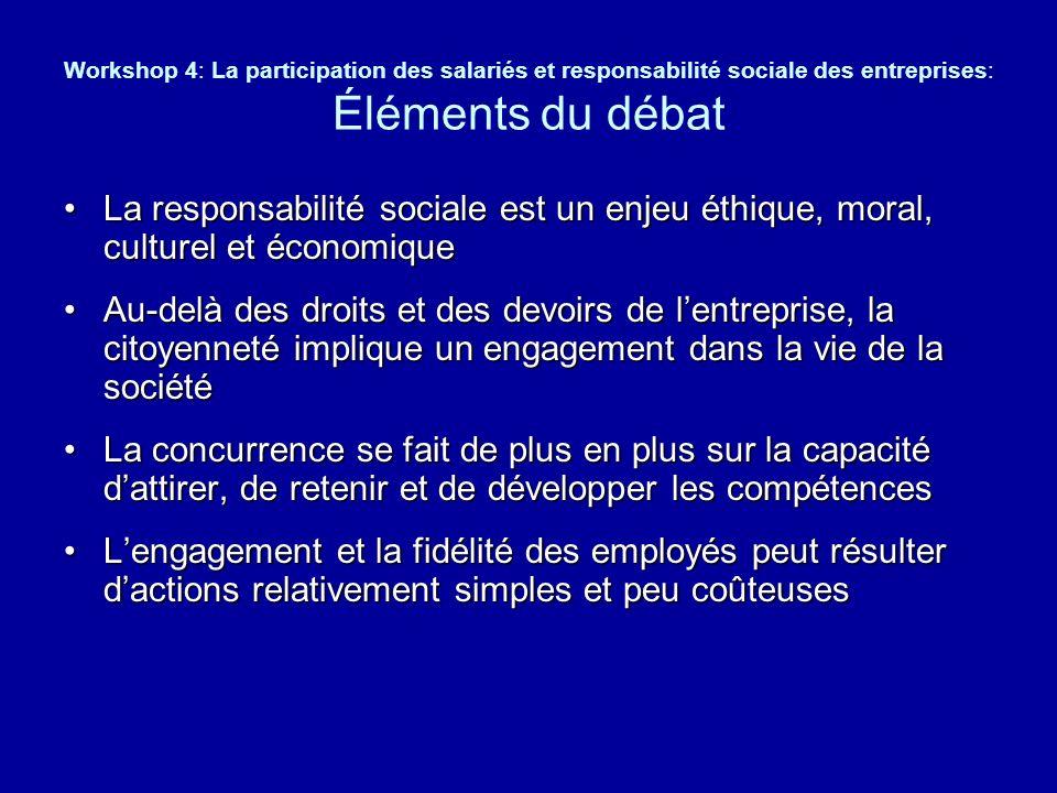 Workshop 4: La participation des salariés et responsabilité sociale des entreprises: Éléments du débat La responsabilité sociale est un enjeu éthique,