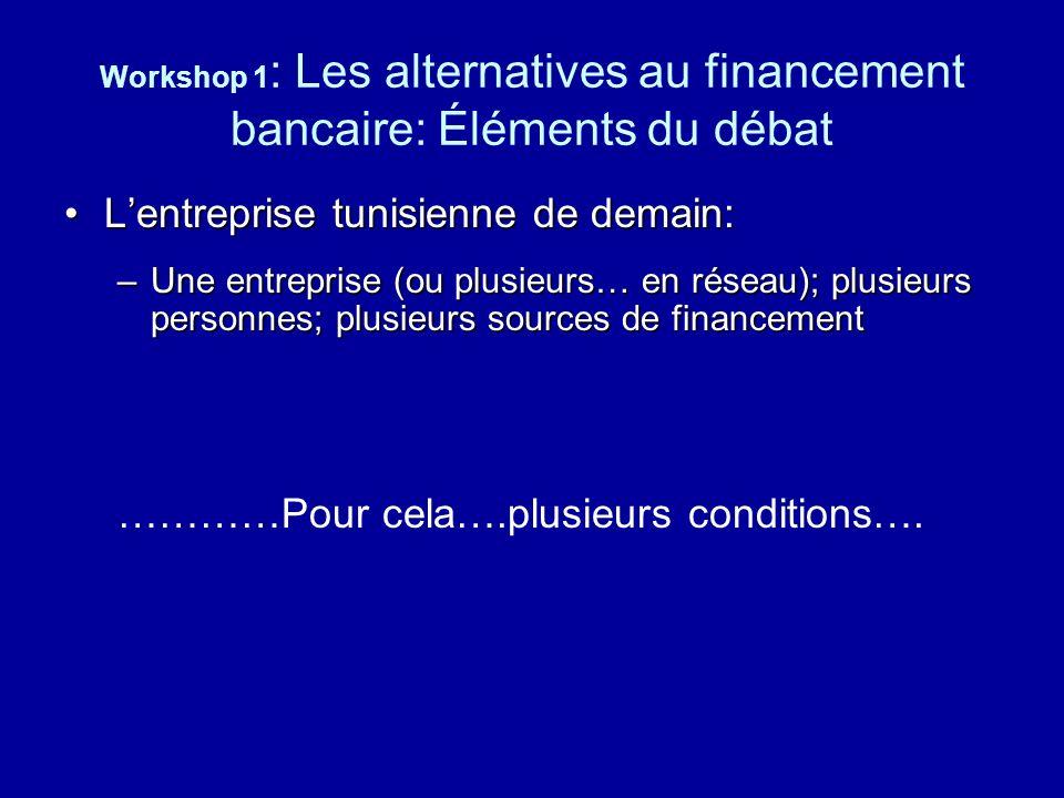 Workshop 1 : Les alternatives au financement bancaire: Éléments du débat Lentreprise tunisienne de demain:Lentreprise tunisienne de demain: –Une entre