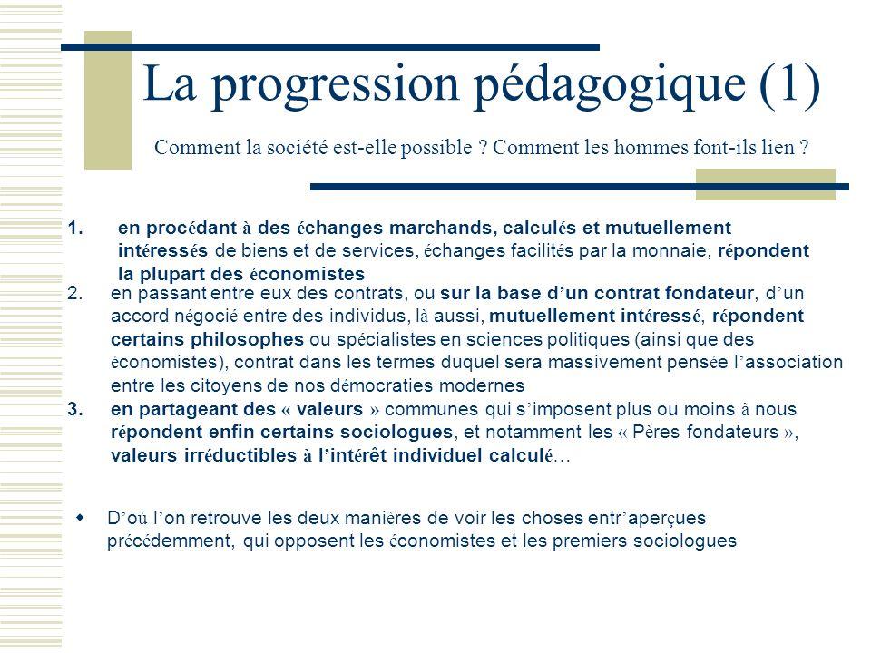 La progression pédagogique (1) Comment la société est-elle possible ? Comment les hommes font-ils lien ? en proc é dant à des é changes marchands, cal