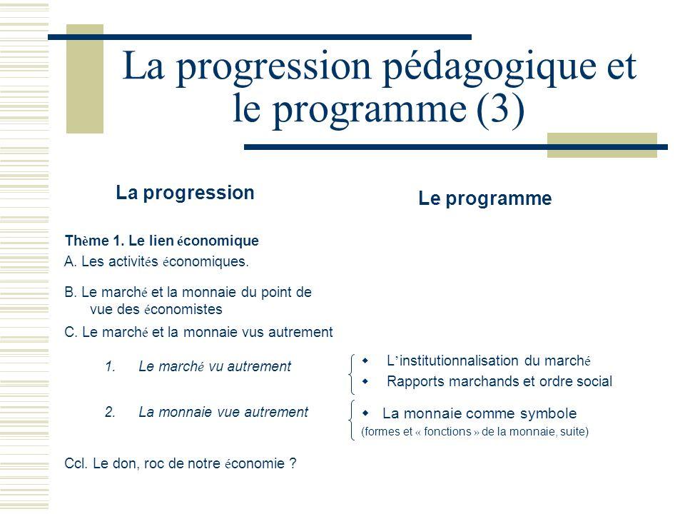 La progression pédagogique et le programme (3) La progression Le programme Th è me 1. Le lien é conomique A. Les activit é s é conomiques. B. Le march