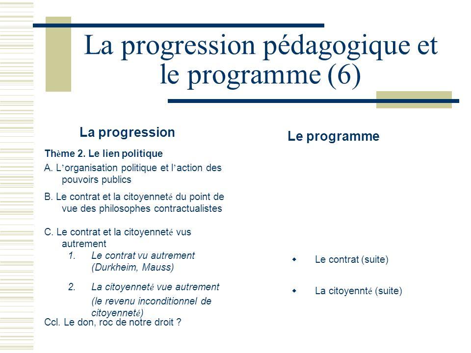 La progression pédagogique et le programme (6) La progression Le programme Th è me 2. Le lien politique A. L organisation politique et l action des po