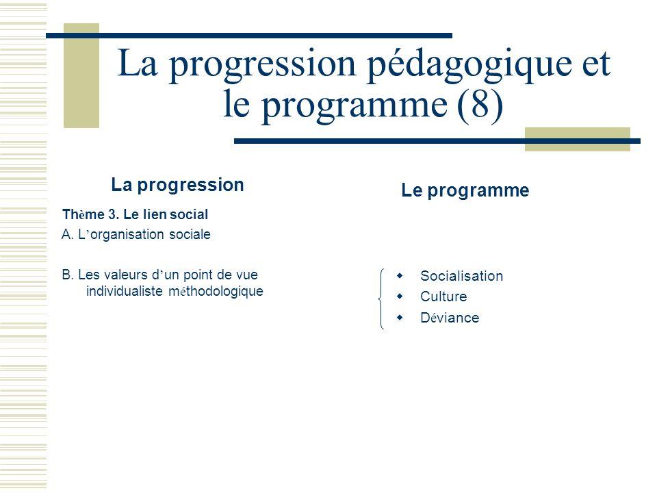 La progression pédagogique et le programme (8) La progression Le programme Th è me 3. Le lien social A. L organisation sociale B. Les valeurs d un poi
