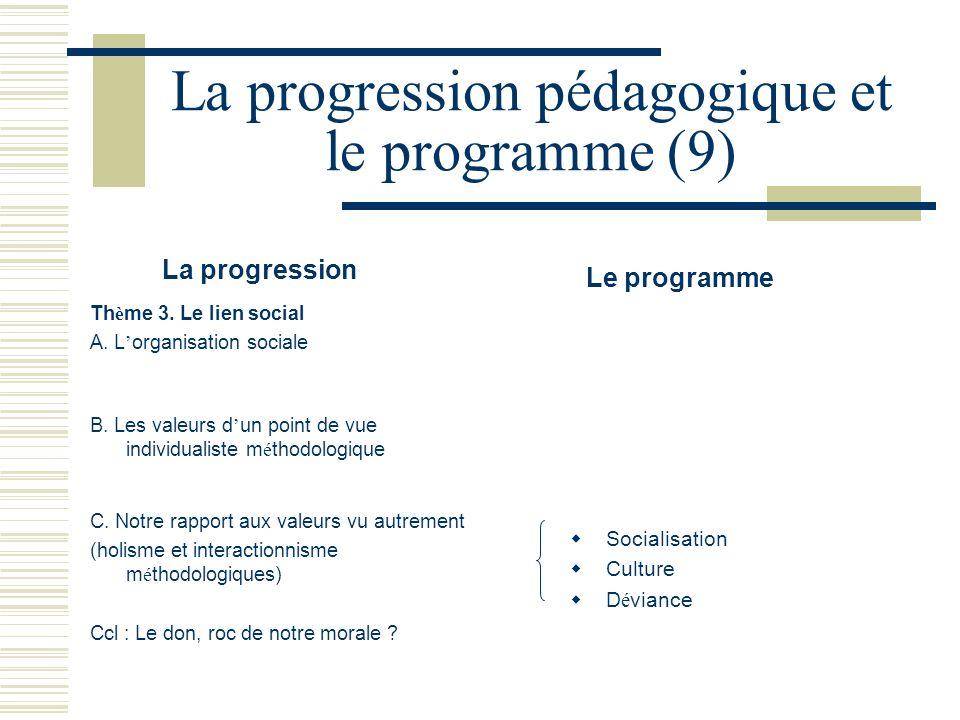 La progression pédagogique et le programme (9) La progression Le programme Th è me 3. Le lien social A. L organisation sociale B. Les valeurs d un poi