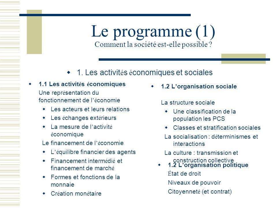 Le programme (1) Comment la société est-elle possible ? 1. Les activit é s é conomiques et sociales 1.1 Les activit é s é conomiques Une repr é sentat