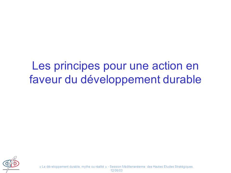 « Le développement durable, mythe ou réalité » - Session Méditerranéenne des Hautes Etudes Stratégiques, 12/06/03 Les principes pour une action en fav