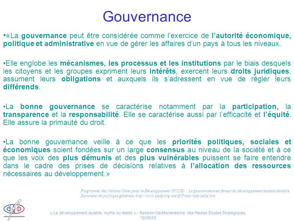 « Le développement durable, mythe ou réalité » - Session Méditerranéenne des Hautes Etudes Stratégiques, 12/06/03 Gouvernance « La gouvernance peut êt