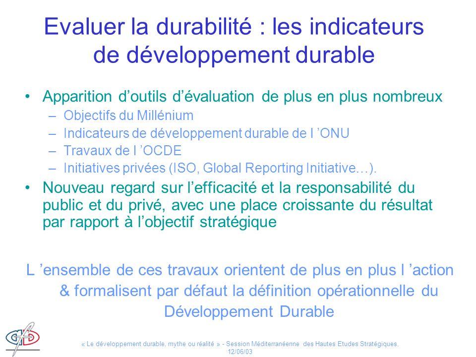 « Le développement durable, mythe ou réalité » - Session Méditerranéenne des Hautes Etudes Stratégiques, 12/06/03 Evaluer la durabilité : les indicate