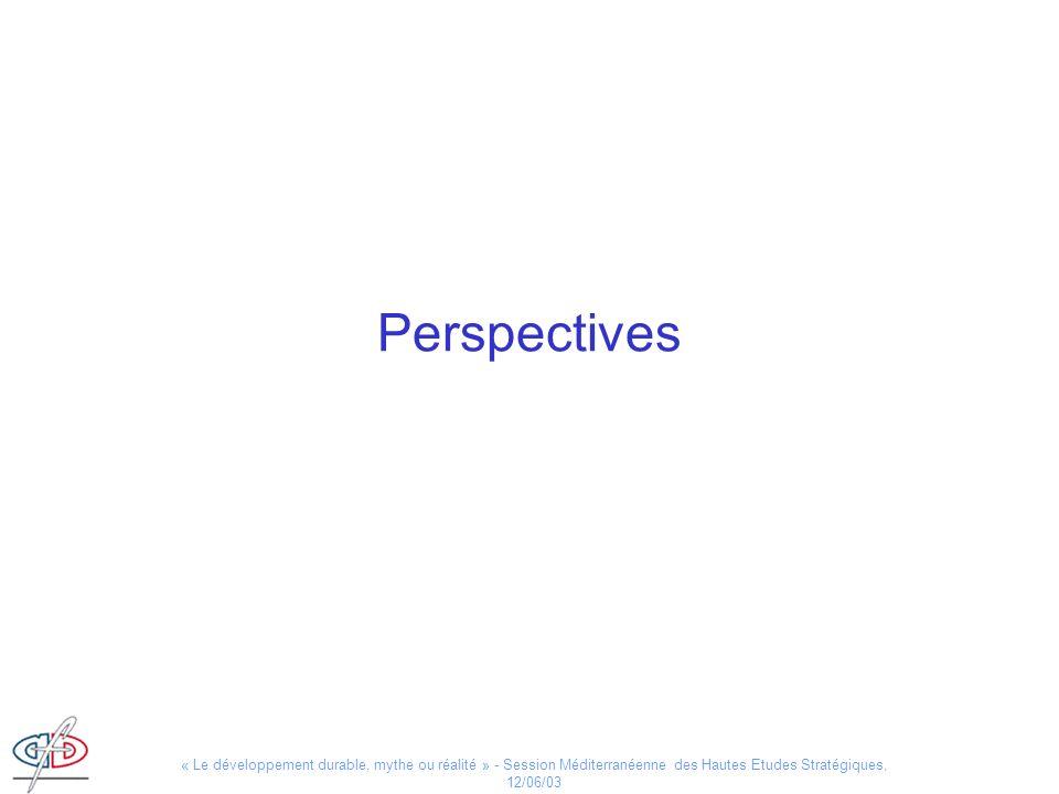 « Le développement durable, mythe ou réalité » - Session Méditerranéenne des Hautes Etudes Stratégiques, 12/06/03 Perspectives