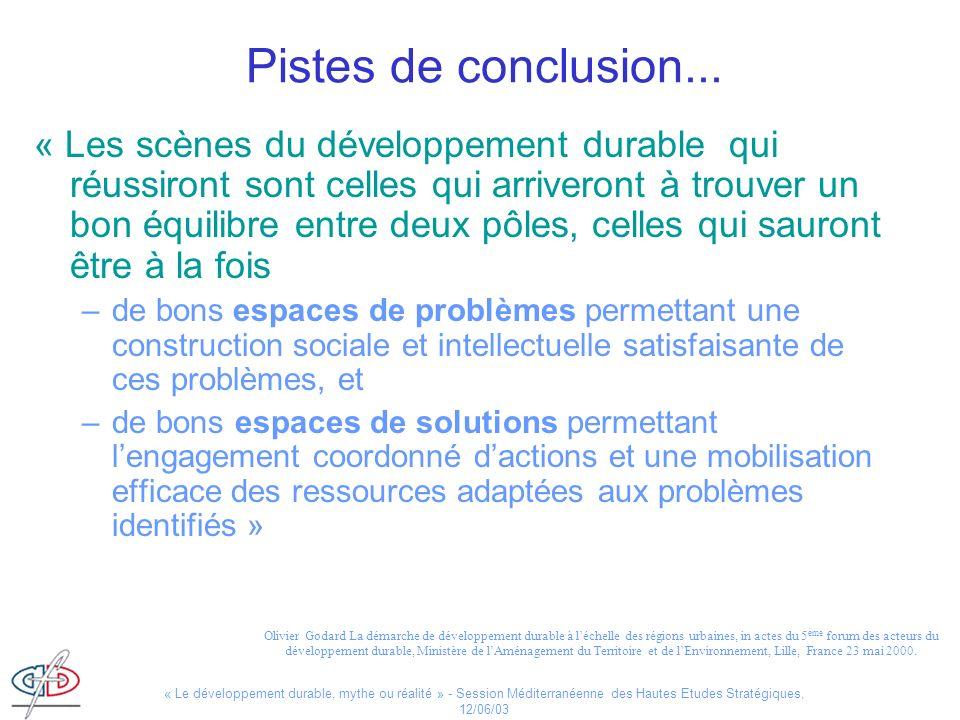 « Le développement durable, mythe ou réalité » - Session Méditerranéenne des Hautes Etudes Stratégiques, 12/06/03 Pistes de conclusion... « Les scènes